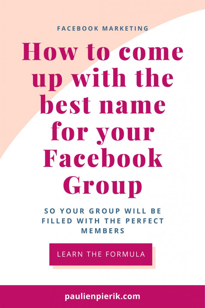 Facebook group Name ideas pin